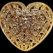 Napier rhinestone heart pin lace like open work