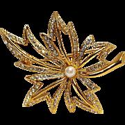 Napier rhinestone simulated pearl leaf pin