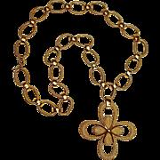 Trifari cross pendant necklace  brushed gold finish