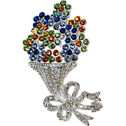 Napier rhinestone bouquet of flowers pin