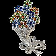 Napier rhinestone bouquet of flowers pin