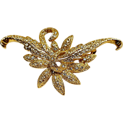 Napier rhinestone flower and scrolled leaves pin