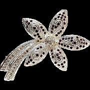 Napier purple rhinestone petal flower pin
