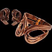 Renoir Rhythm copper cuff and clip earring set.