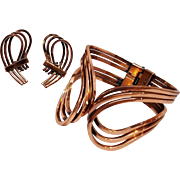 Renoir Rhythm copper cuff and clip earring set.