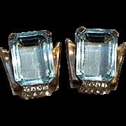 Mazer sterling vermeil earrings blue glass stone