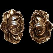 Sterling silver water lily earrings screw back