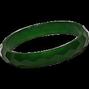 Faceted Bakelite bangle translucent green