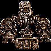 900 Silver Peru pin pre Columbian motif