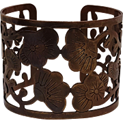 Copper cuff bracelet hand crafted Lotus flower motif
