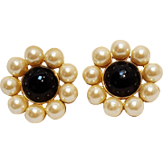 Ann Taylor simulated pearl black cabochon clip earrings