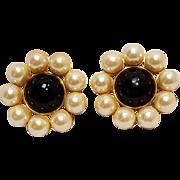 Ann Taylor simulated pearl black cabochon clip earrings