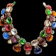 Vendome pastel glass cabochon rhinestone necklace