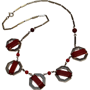 Jakob Bengel Art Deco red galalith necklace Germany