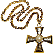Monet maltese cross pendant necklace simulated mabe pearl