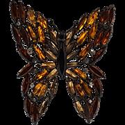 Alice Caviness rhinestone butterfly pin Japanned finish