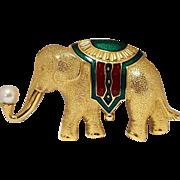 Monet elephant pin enamel simulated pearl