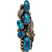 JP sterling silver turquoise ring Southwest squash blossom