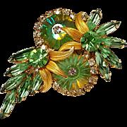 Juliana Venus flower peridot margarita crystal pin