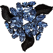 Weiss blue rhinestone flower  pin Japanned finish