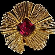 Trifari red rhinestone pin