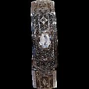 Edwardian filigree bangle bracelet colorless stones JHP Peckham