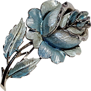 Coro blue enamel rose pin