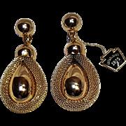 Napier drop earrings gold tone mesh