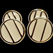 Monet clip earrings Mod geometric cream enamel