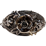 Whiting Davis hinged   bracelet rose