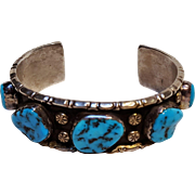 LMTZ Native American sterling silver turquoise cuff bracelet