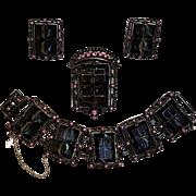 Sarah Coventry Midnight magic parure bracelet pin pendant earrings