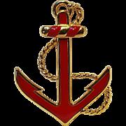 Monet red enamel arrow pin
