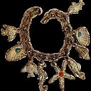 Ocean theme charm bracelet fish shells seahorse starfish
