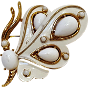 Trifari butterfly pin white original box