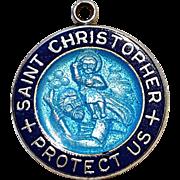 Saint Christopher Theda sterling silver blue enamel medal