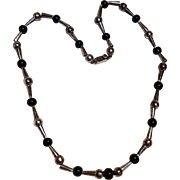 Taxco sterling onyx bead necklace Marmolejo Jose JMS TM-65
