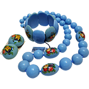 Richelieu blue plastic bead flower transfer parure stretch bracelet necklace clip earrings