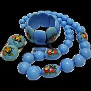Richelieu blue plastic bead flower transfer parure stretch bracelet necklace clip earrings