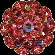 Pink rhinestone and aurora borealis brooch pin