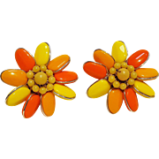 West Germany clip earrings orange yellow glass bead flower head