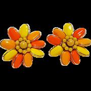 West Germany clip earrings orange yellow glass bead flower head