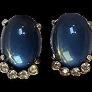 Jomaz clip earrings blue moonstone glass cabochon rhinestone