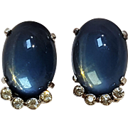 Jomaz clip earrings blue moonstone glass cabochon rhinestone