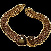 Napier choker necklace gold tone plaque three strands beads