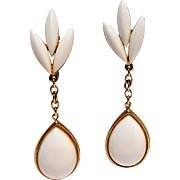 Trifari drop earrings white lucite