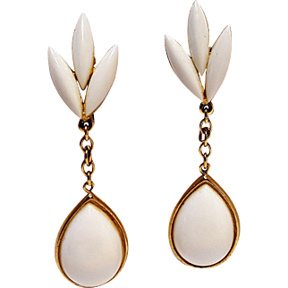 Trifari drop earrings white lucite