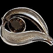 Wells sterling silver pin smoky quartz stone