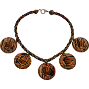 Miriam Haskell painted wood hats necklace