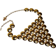 Vendome necklace metal disk circles bib gold tone